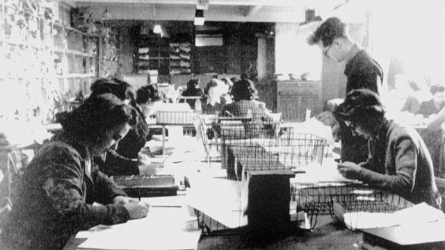 Code-breaking personnel at Bletchley Park, 1943.
